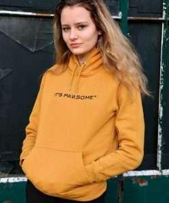 its pawsome organic hoodie ochre